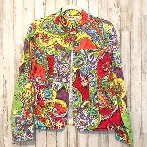 CHICO'S Floral Button Up Jacket